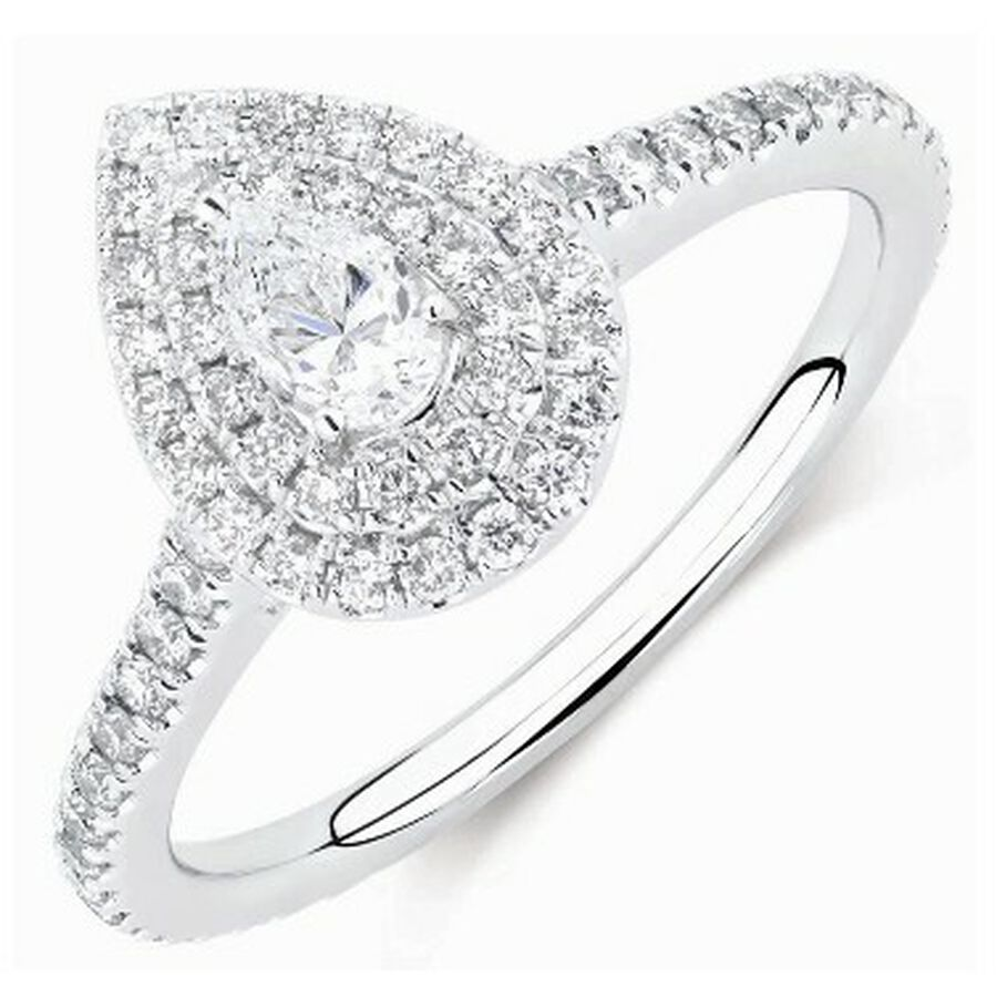 Sir Michael Hill Designer Double Halo Engagement Ring with 0.87 Carat TW of Diamonds in 14kt White Gold