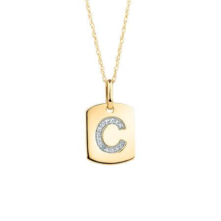 "C"" Initial Rectangular Pendant With Diamonds In 10kt Yellow Gold"
