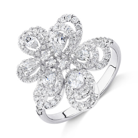 Flower Ring with 1 Carat TW of Diamonds in 10kt White Gold