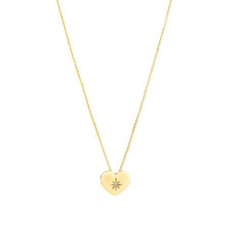 Heart Pendant with Diamonds in 10kt Yellow Gold