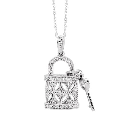 Padlock & Key Pendant with Diamonds in Sterling Silver