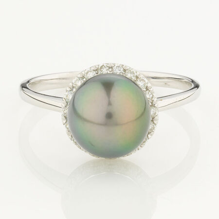 Online Exclusive - Ring with 0.16 Carat total Weight of Diamonds and Black Cultured Freshwater Pearl in 10kt White Gold