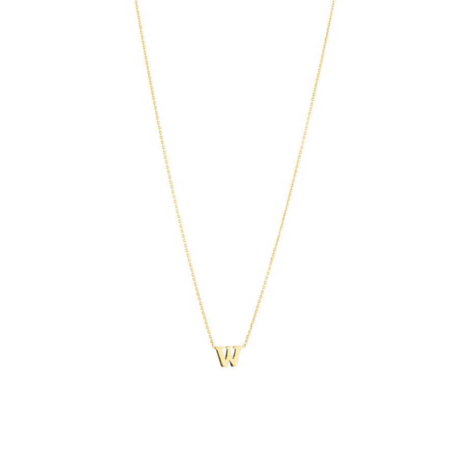 """""""W"""" Initial Necklace in 10kt Yellow Gold"""