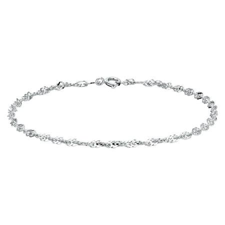 """17cm (6.5"""") Singapore Bracelet in 10kt White Gold"""
