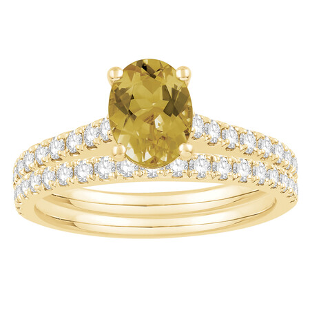 Bridal Set with Yellow Sapphire & 0.69 Carat TW of Diamonds in 14kt Yellow Gold