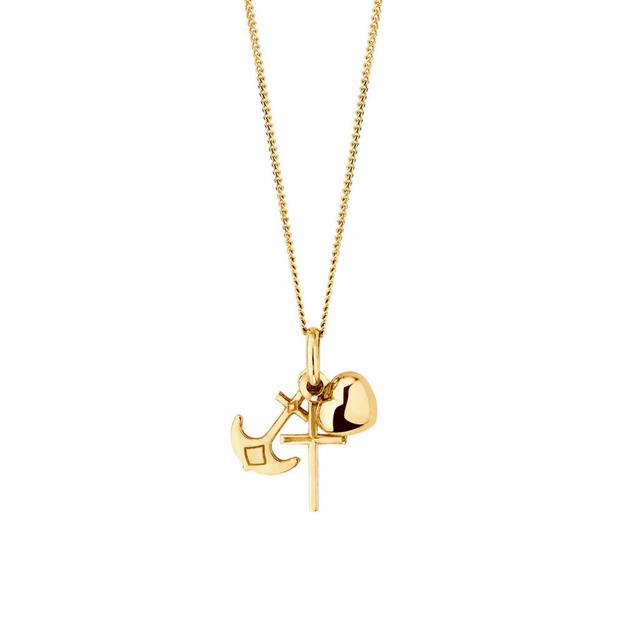 Faith & Hope Charity Pendant in 10kt Yellow Gold
