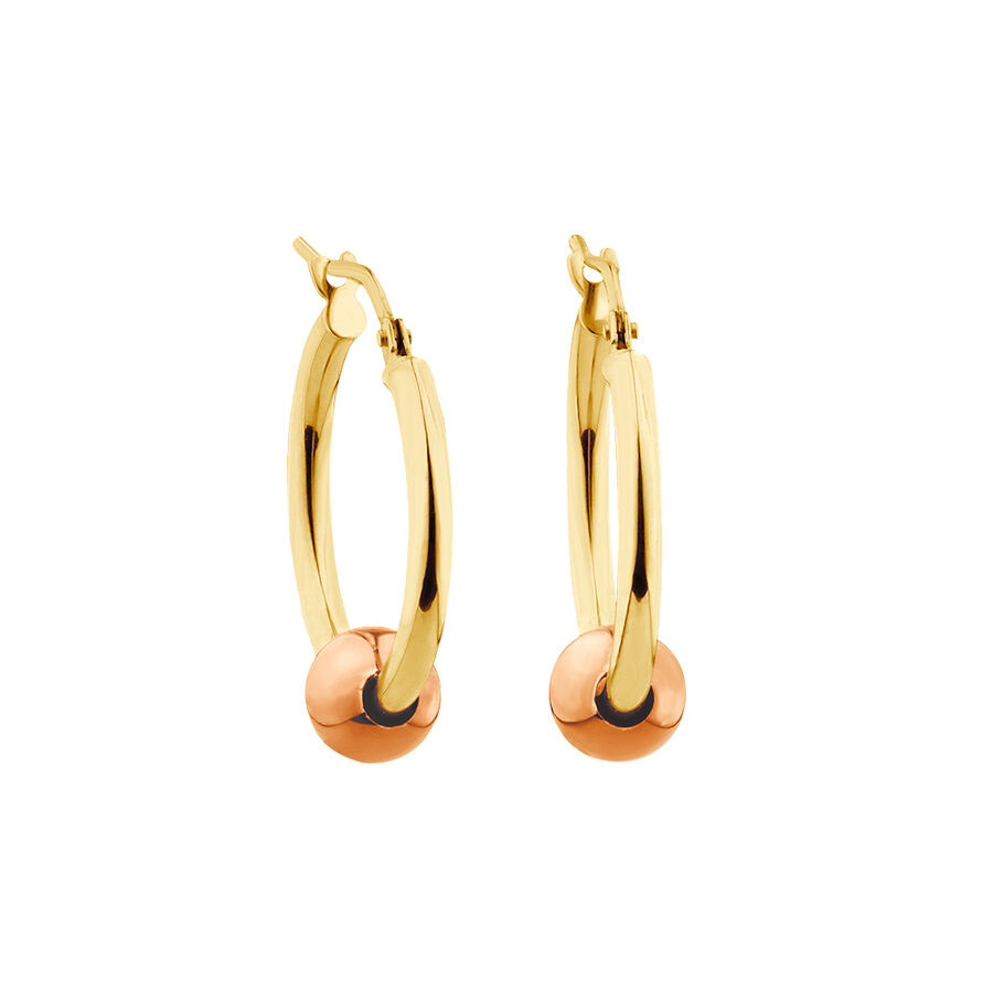 Ball Hoop Earrings in 10kt Yellow & Rose Gold