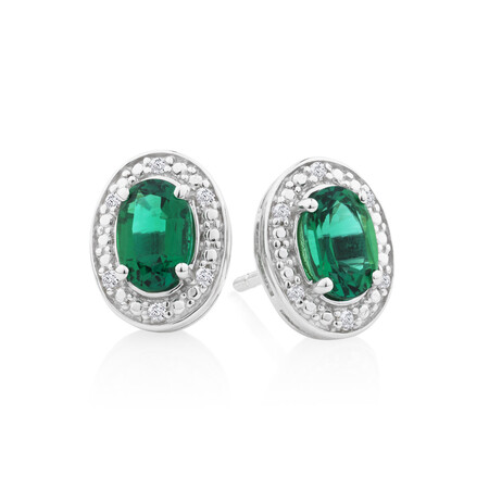 Halo Earrings with Created Emerald and 0.04 Carat TW of Diamonds in Sterling Silver