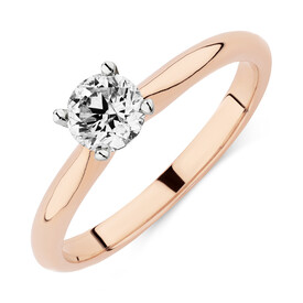 Certified Solitaire Engagement Ring with 1 Carat TW Diamond in 14kt Rose & White Gold