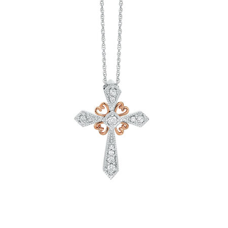 Pendant with 0.15 Carat TW of Diamonds in 10kt White & Rose Gold