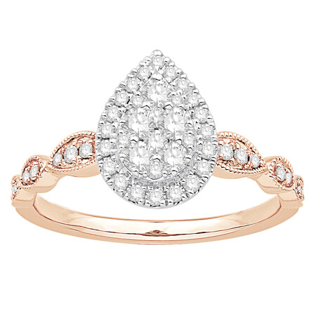Cluster Ring with 1/2 Carat TW of Diamonds in 10kt Rose & White Gold