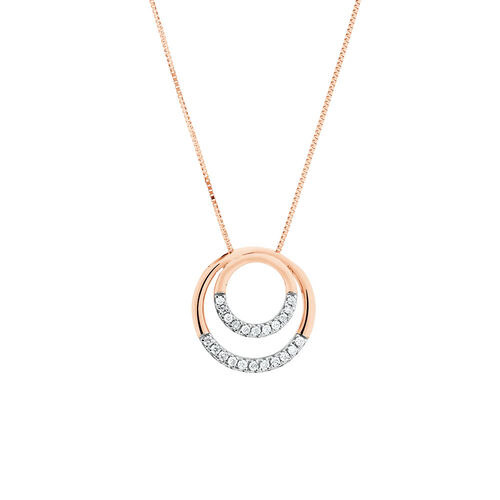 Double Circle Pendant With 0.12 Carat TW of Diamonds in 10kt Rose Gold