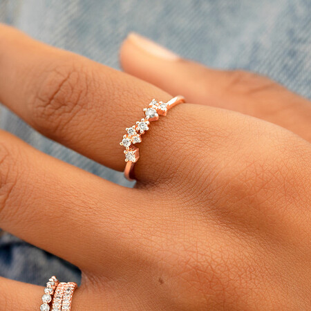Stacker Ring with 0.18 Carat TW of Diamonds in 10kt Rose Gold