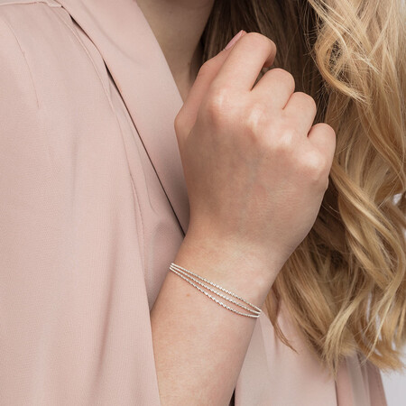 Triple Strand Twist Bolo Bracelet in Sterling Silver