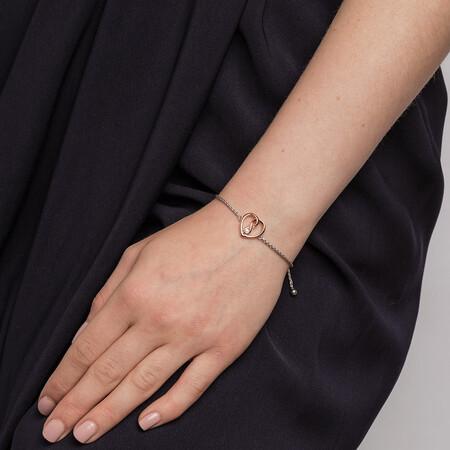 Infinitas Bracelet with Diamonds in Sterling Silver & 10kt Rose Gold
