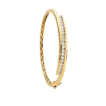 Hinged Bangle with 1 1/2 Carat TW of Diamonds in 10kt Yellow Gold