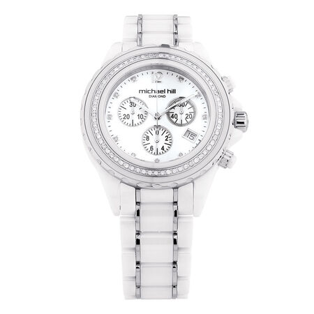 Unisex Watch with 1/2 Carat TW of Diamonds in White Ceramic & Stainless Steel