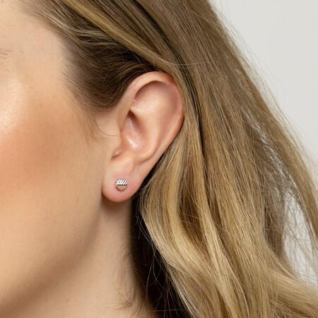 Circle Stud Earrings in 10kt White & Rose Gold