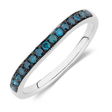 Wedding Band with 1/4 Carat TW of Enhanced Blue Diamonds in 14kt White Gold
