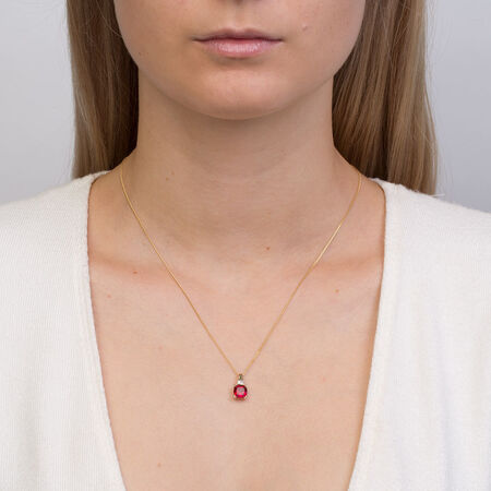 Pendant with Created Ruby & Diamonds in 10kt Yellow Gold