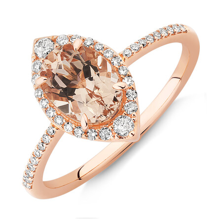 Halo Ring with Morganite & 0.20 Carat TW of Diamonds in 10kt Rose Gold
