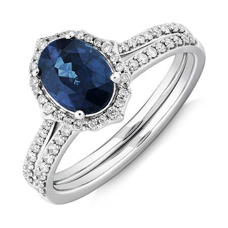 Sapphire & 0.30 Carat TW of Diamonds Bridal Set in 14kt White Gold
