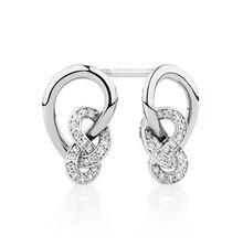 Knots Stud Earrings with 0.16 Carat TW of Diamonds in Sterling Silver