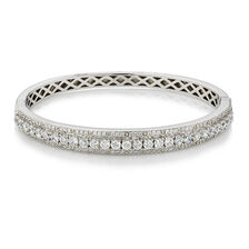 Online Exclusive - Hinged Bangle with Cubic Zirconia in Sterling Silver