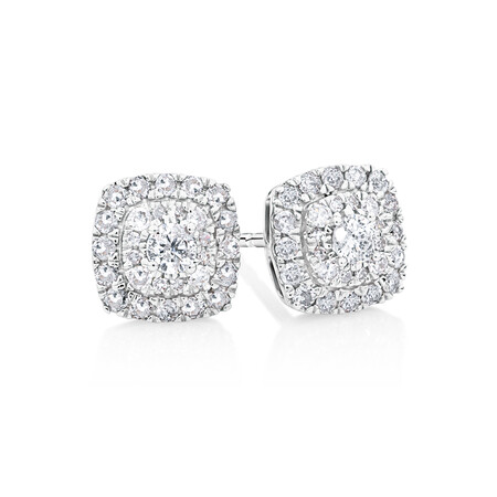 Cluster Stud Earrings With 0.40 Carat TW Diamonds In 10kt White Gold