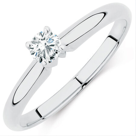 Solitaire Engagement Ring with a 0.18 Carat Diamond in 14kt White Gold