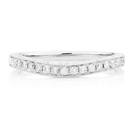 Wedding Band with 0.22 Carat TW of Diamonds in 14kt White Gold