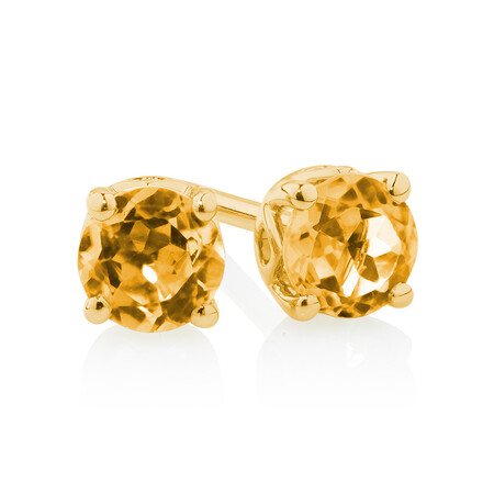 4mm Stud Earrings with Citrine in 10kt Yellow Gold