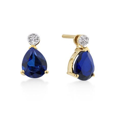 Pear Stud Earrings With Diamonds And Created Sapphire In 10kt Yellow Gold