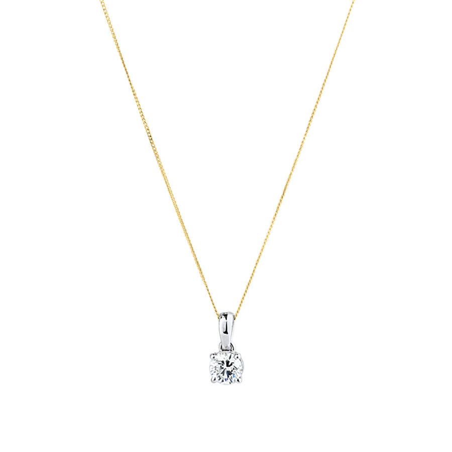 Solitaire Pendant with a 1 Carat TW Diamond in 14kt White Gold