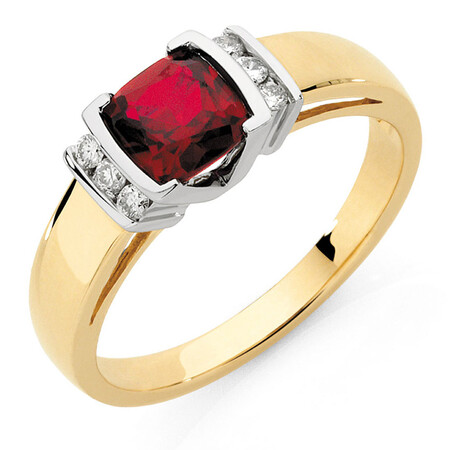 Ring with Created Ruby & Diamonds in 10kt Yellow & White Gold