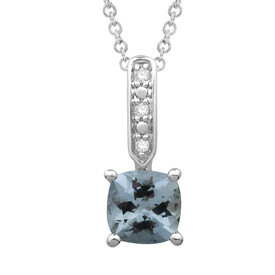 Pendant with Aquamarine and Diamond in 10kt White Gold