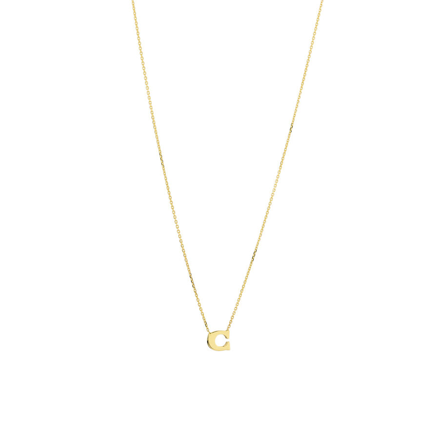 """""""C"""" Initial Necklace in 10kt Yellow Gold"""