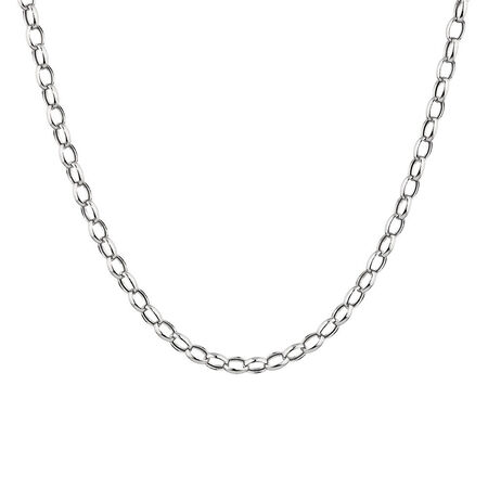 "50cm (20"") Hollow Rolo Chain in 10kt White Gold"