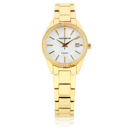 Ladies Watch with Diamonds & Mother of Pearl in Gold Tone Stainless Steel