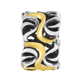 10kt Yellow Gold & Sterling Silver Swirl Pattern Charm