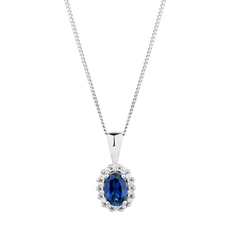 Online Exclusive - Pendant with Created Sapphire & Diamonds in 10kt White Gold