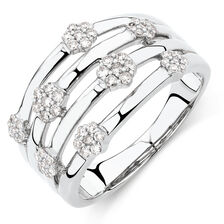 Cluster Ring with 1/3 Carat TW of Diamonds in 10kt White Gold