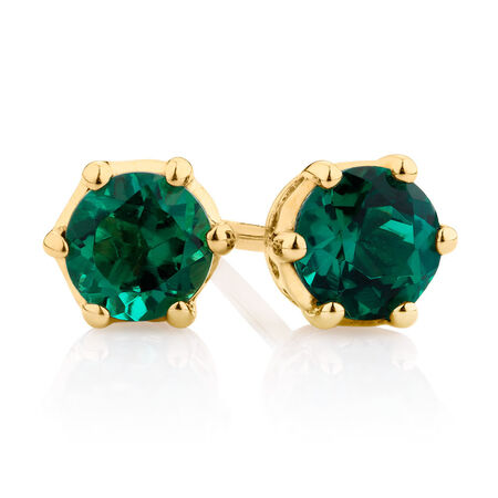 Stud Earrings with Created Emerald in 10kt Yellow Gold