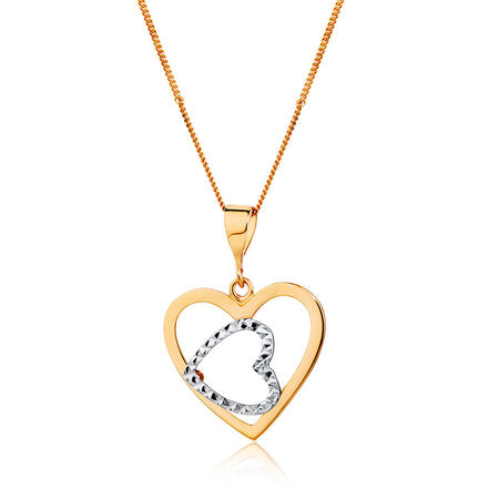 Heart Pendant in 10kt White & Rose Gold