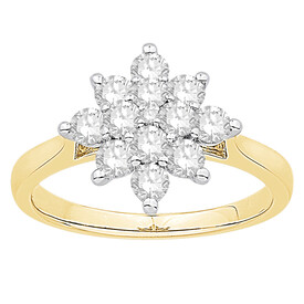 Ring with 1.00 Carat TW of Diamonds in 10kt Yellow & White Gold