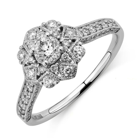 Engagement Ring with 0.75 Carat TW of Diamonds in 14kt White Gold