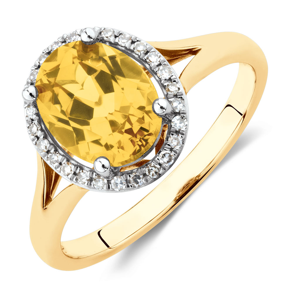 ring with created yellow sapphire amp diamonds in 10kt