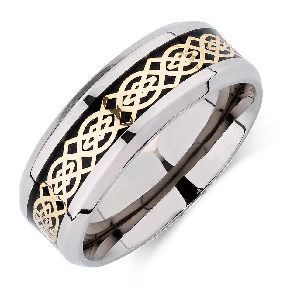 Mens Patterned Ring in Carbon Fibre Titanium