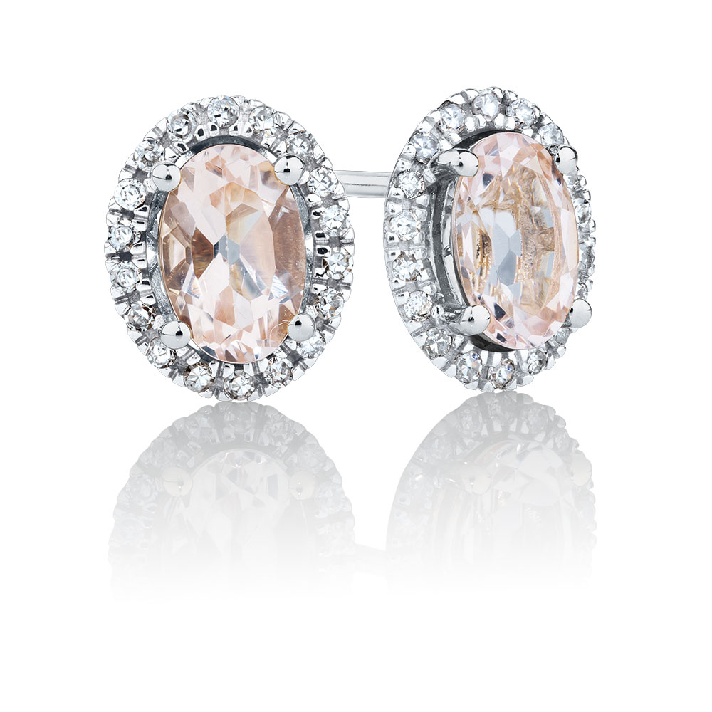 rnd gold gemstone earrings mandys diamonds std mine mrgnt cuo diamond white morganite accents collections je gem dmnd products with stud