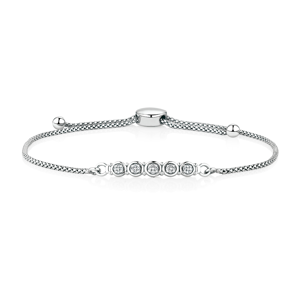 diamond adjustable bracelet sterling silver diamonds in with